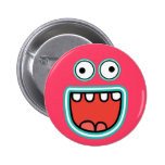 Silly Monster Face Smile Pinback Button