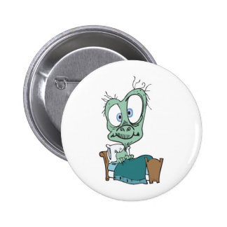 silly monster in bed 2 inch round button