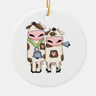 silly moo cow couple cartoon ceramic ornament