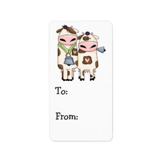 silly moo cow couple cartoon address label