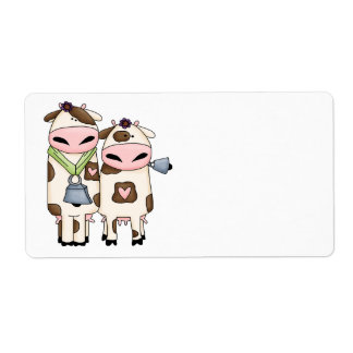 silly moo cow couple cartoon label