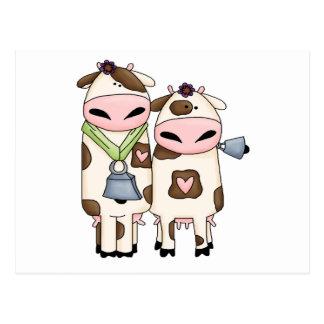 silly moo cow couple cartoon postcard