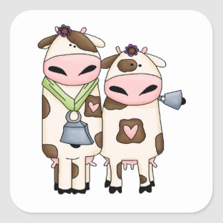 silly moo cow couple cartoon stickers