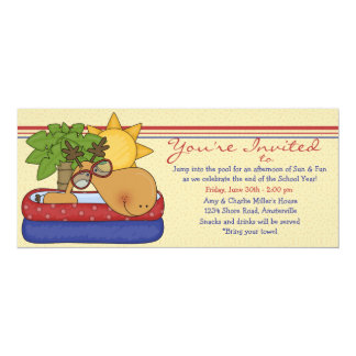 """Silly Moose - Pool Party Invitation 4"""" X 9.25"""" Invitation Card"""