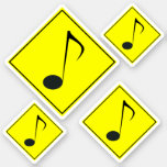 [ Thumbnail: Silly Musical Note Traffic Sign Style Stickers ]