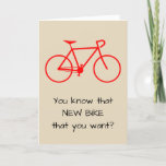 [ Thumbnail: Silly New Bike Birthday Card ]
