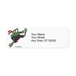 silly ninja frog cartoon return address label