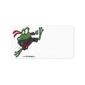 silly ninja frog cartoon address label