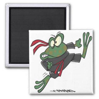 silly ninja frog cartoon magnet