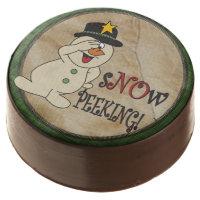 Silly No Peeking Snowman Chocolate Covered Oreo