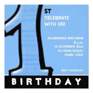 Silly Number 1 blue 1st Birthday Invitation