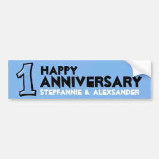 Silly Number 1 blue Anniversary Bumper Sticker