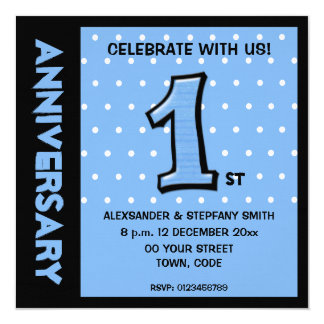 Silly Number 1 blue dots Anniversary Invitation
