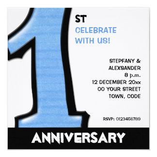 Silly Number 1 blue white Anniversary Invitation
