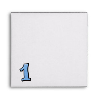 Silly Number 1 blue white Invitation Envelope