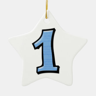 Silly Number 1 blue white Star Ornament