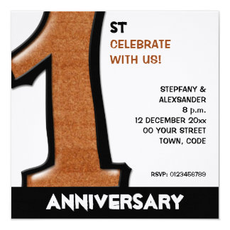 Silly Number 1 chocolate white Anniversary Invite