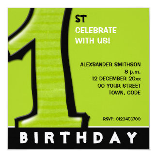 """Silly Number 1 green 1st Birthday Invite 5.25"""" Square Invitation Card"""