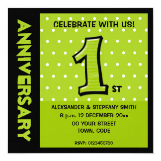 Silly Number 1 green dots Anniversary Invitation