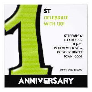 "Silly Number 1 green white Anniversary Invite 5.25"" Square Invitation Card"