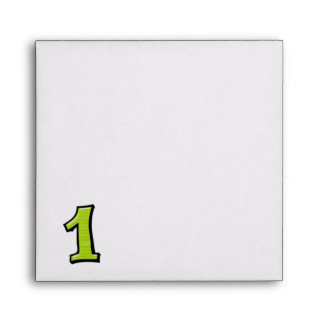 Silly Number 1 green white Invitation Envelope