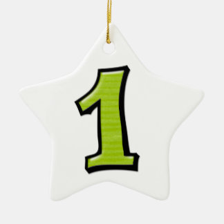 Silly Number 1 green white Star Ornament