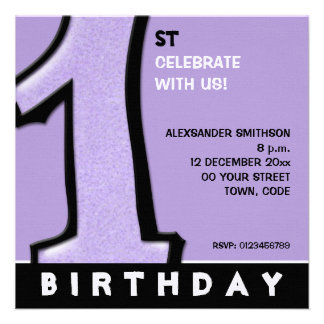 Silly Number 1 lavender 1st Birthday Invite
