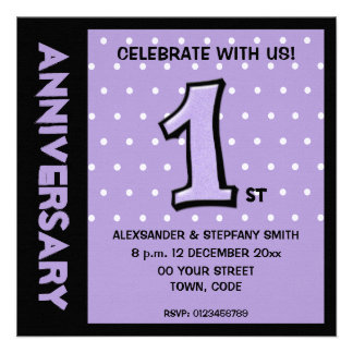 Silly Number 1 lavender dots Anniversary Invite