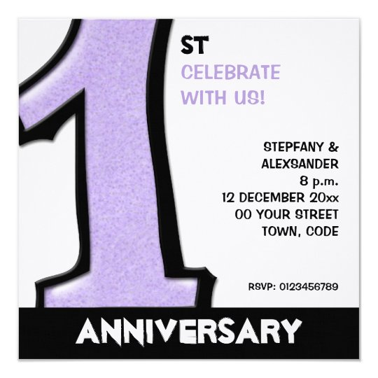 Silly Number 1 lavender white Anniversary Invite