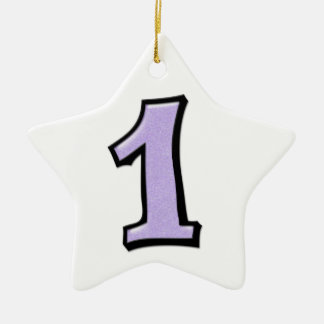 Silly Number 1 lavender white Star Ornament