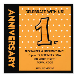 Silly Number 1 orange dots Anniversary Invite