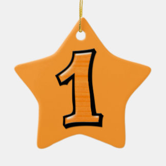 Silly Number 1 orange Star Ornament