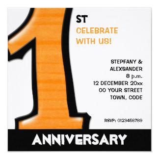 Silly Number 1 orange white Anniversary Invite