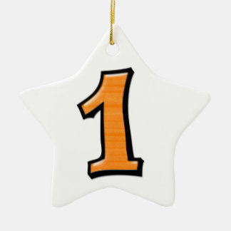 Silly Number 1 orange white Star Ornament