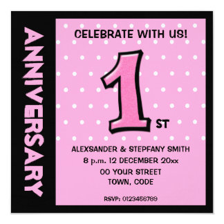 Silly Number 1 pink dots Anniversary Invite
