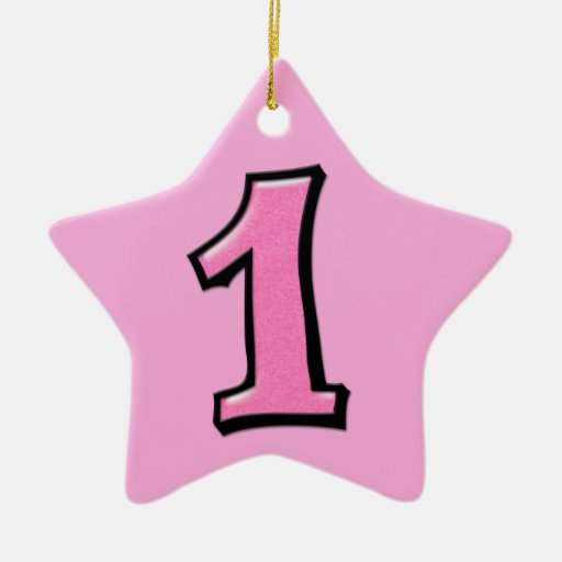 Silly Number 1 pink Star Ornament