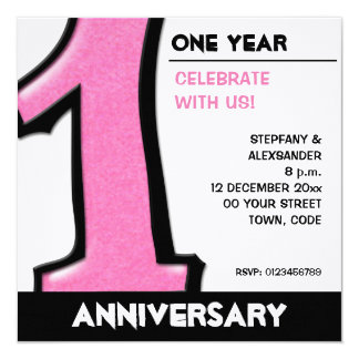 Silly Number 1 pink white Anniversary Invite