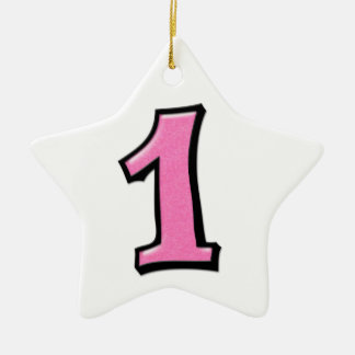 Silly Number 1 pink white Star Ornament