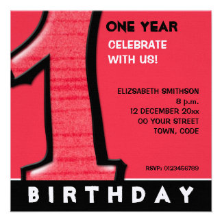 Silly Number 1 red 1st Birthday Invite