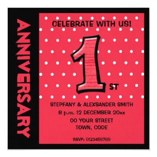 Silly Number 1 red dots Anniversary Invite