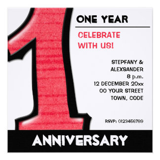 Silly Number 1 red white Anniversary Invite