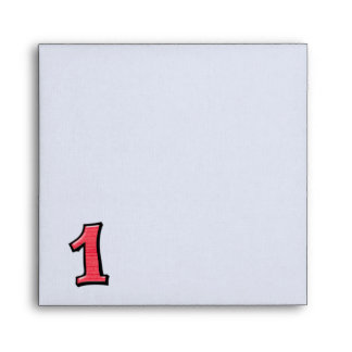 Silly Number 1 red white Invitation Envelope