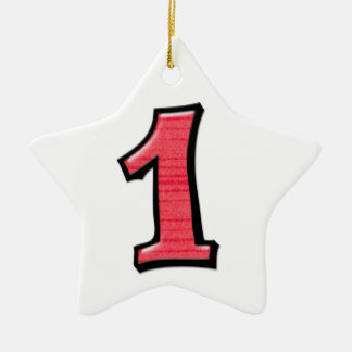 Silly Number 1 red white Star Ornament