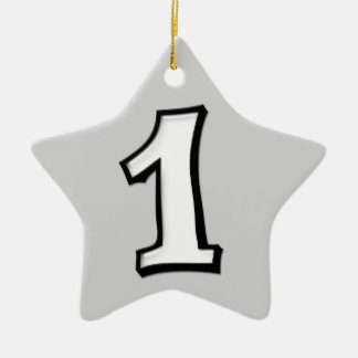 Silly Number 1 white gray Star Ornament