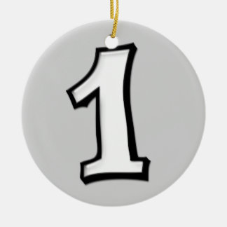 Silly Number 1 white Ornament