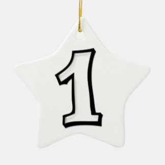 Silly Number 1 white Star Ornament