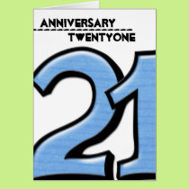 Silly Number 21 blue Anniversary Card