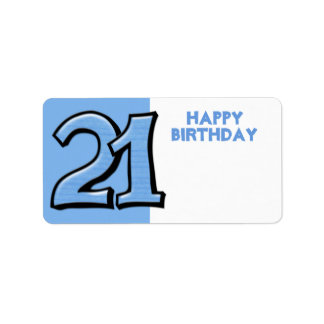 Silly Number 21 blue Birthday Gift Sticker Personalized Address Label
