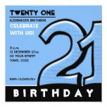 """Silly Number 21 blue Birthday Party Invitation 5.25"""" Square Invitation Card"""