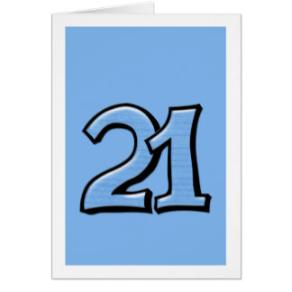 Silly Number 21 blue Card